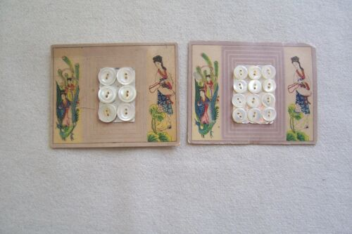 18 VTG Antique Victorian Edwardian  Pearl MOP Buttons on 2 cards