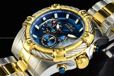 NEW Invicta 52mm Men's Bolt Quartz Chronograph TT 18K Gold IP Blue Dial SS Watch