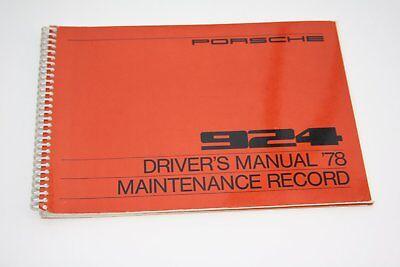 1978 Porsche 924 - Original Owner's Manual & Maintenance Record