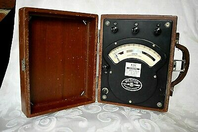 Vintage Weston Voltmeter Model 341 Ac Dc 750 Volts With Wooden Case Usaf 1950s