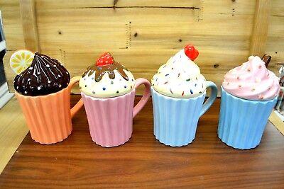 Kaffeetasse mit Deckel Kakaobecher Retro American Diner NEU (Cupcake-tasse)