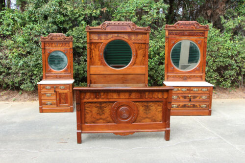 Gorgeous Ornate Burl Walnut Victorian 3pc Marble Top Bullseye Bedroom Set Ca1880