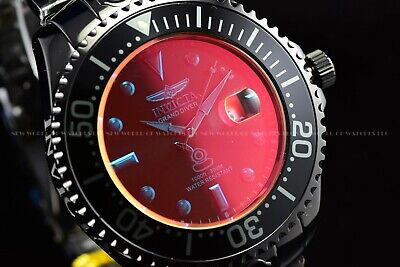 Invicta 54mm Grand Diver Sunray Automatic Tinted Crystal Black Polished SS Watch