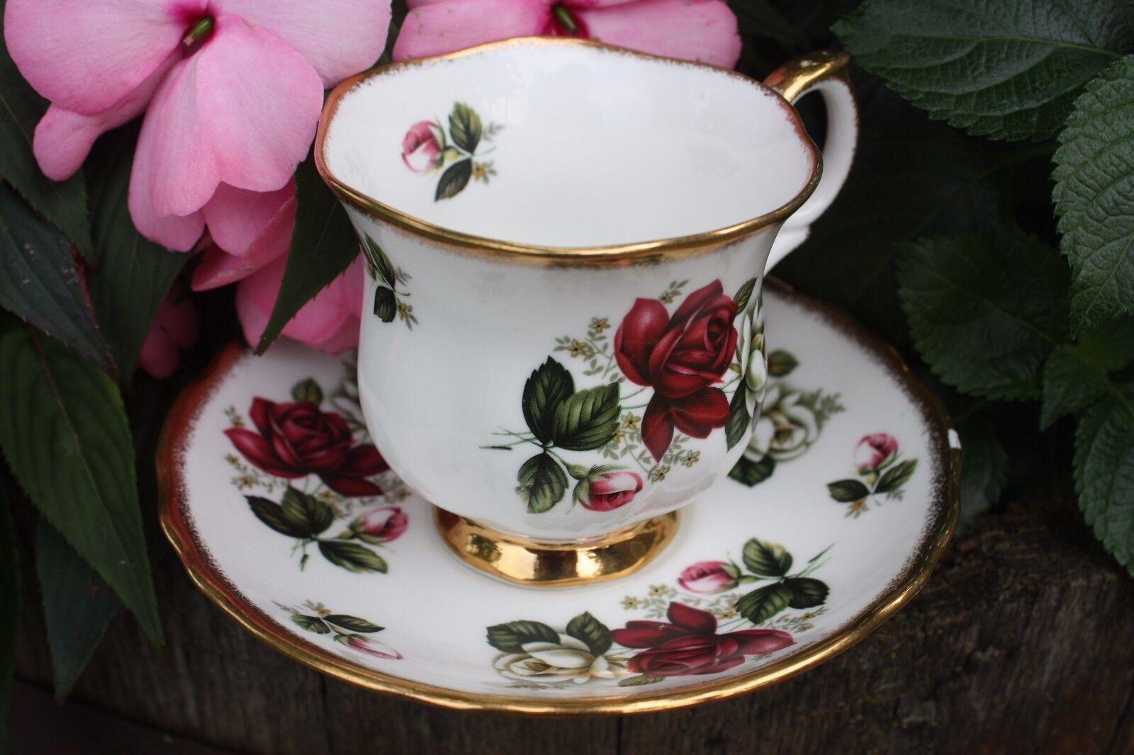 vintage crown staffordshire england fine bone china tea cup set g922 picclick. Black Bedroom Furniture Sets. Home Design Ideas