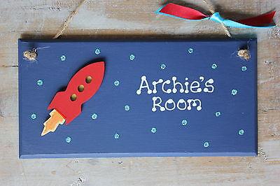 Personalised Space Rocket Bedroom Door Plaque Boy Girl Glitter *FREE GIFT WRAP*
