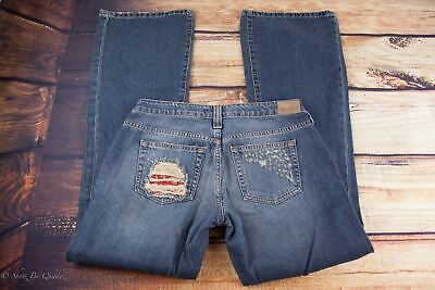 Hippie Jeans Ladies Denim Distressed Bootcut Size 7/28  Red Pocket B37 for sale  Shipping to India