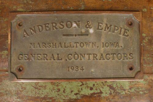 Antique 1934 Anderson & Empie Contractors Marshalltown Iowa Sign Bullet Holes