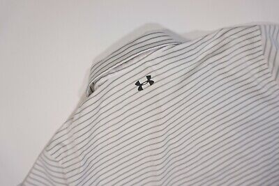 Mens Under Armour Golf Heat Gear Loose Striped Golf Polo Shirt Size XL