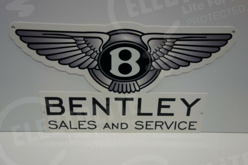 """BENTLEY SALES & SERVICE DEALERSHIP WING SIGN. 10.0"""" X 18"""" VERY SCARCE! EXCELLENT"""