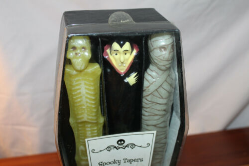 Vintage Halloween Spooky Taper Candles 6 pack Sealed New in Box Dracula Mummy