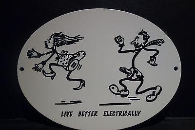 Reddy Kilowatt LIVE BETTER ELECTRICALLY ELECTRIC STEEL ENAMEL ELECTRICIAN GIFT