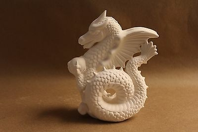 Ready to Paint Ceramic Bisque Dragon  , unpainted; U-paint