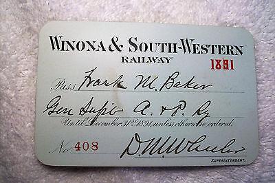 Winona & South-Western Railway   1891   Annual Pass