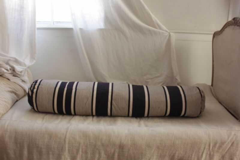 Ticking Pillow Antique French bolster striped blue indigo feather down insert