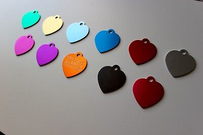 PET TAGS HEART ID DOG TAG PREMIUM FULLY ANODIZED 2-SIDE DIAMOND ENGRAVED PET TAG