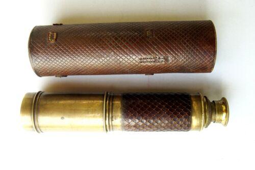 Antique 19th C Brass Expandable Nautical Maritime Telescope Monocular Spyglass