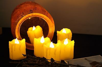 6 PCS Battery Operated LED Flameless Candles with Remote Flameless Votives Drips