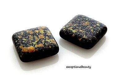 5 Designer Czech Glass 18mm Tile Square Black Brown Speckled Specialty Beads Designer Czech Glass Beads