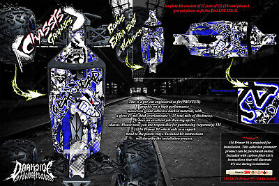LOSI LST 3XL-E 'GEAR HEAD' CHASSIS WRAP DECALS HOP UP FITS SKID PLATE PARTS BLUE (Lst Chassis)