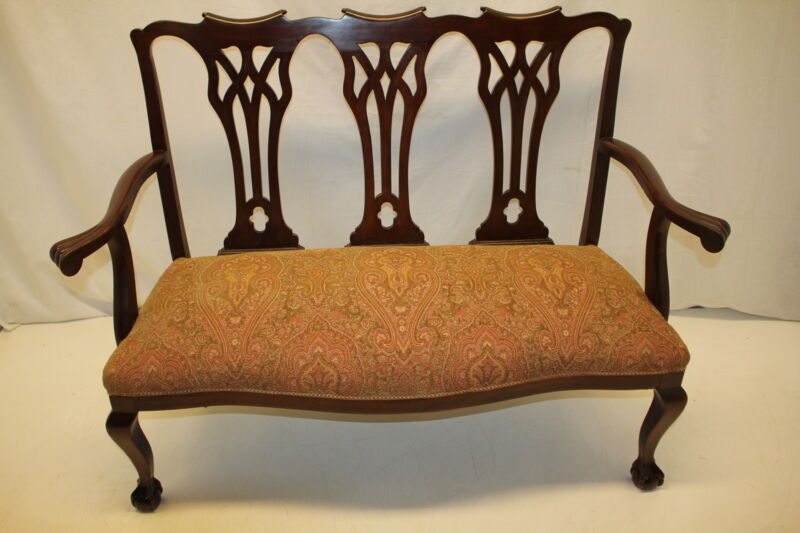 English Chippendale Mahogany Settee  loveseat with Claw Foot c.1920s