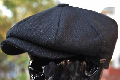 Men's Classic Herringbone Newsboy Cap, 100% Wool Tweed Cabbie Hat Black Ns2317 - Black Cabbie Hat