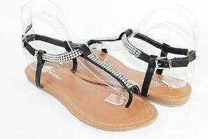 Women Toe Ring Sandals Rhinestone Design Summer Fashion