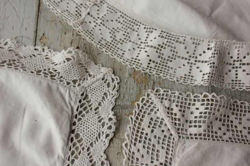 Pillowcases 3 Vintage French white pillow slips lace edges mismatched cotton set