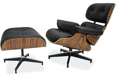 - Plywood Eames Lounge Chair & Ottoman Replica Real Leather Black Palisander