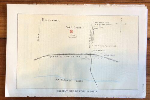 1896 color map Pennsylvania FRONTIER FORT EVERETT inthe LEHIGH VALLEY Ontelaunee