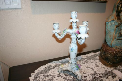 Beautiful Antique Large Von Schierholz Porcelain Candleabra Made in Germany