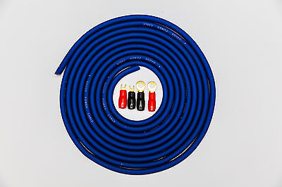 5 METRES 25MM2 4 AWG GAUGE AMPLIFIER POWER CABLE WITH 2 RING 2 FORK TERMINALS 5M