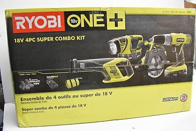Ryobi One 18-volt Lithium-ion Cordless 18v 4-piece Combo Drill Saw Sawsaw Light