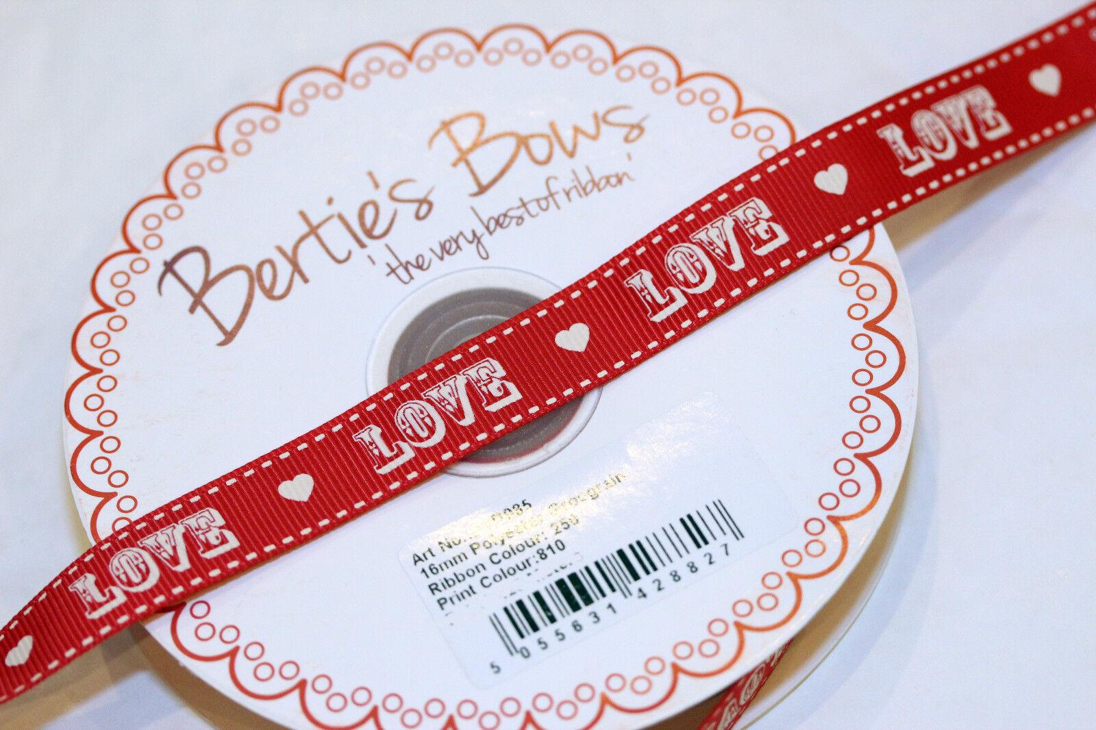 1m /& 2m Bertie/'s Bows Homemade 16mm Grosgrain Ribbon Love Heart