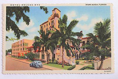 Linen postcard HOTEL HELENE HYE, MIAMI BEACH, FLORIDA