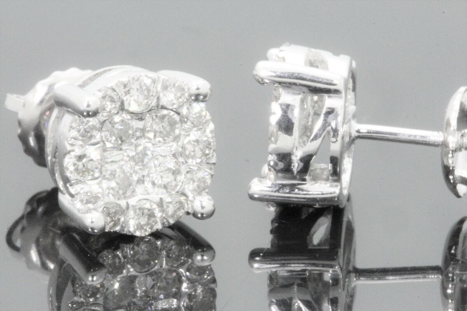 10K WHITE GOLD .88 CARAT MENS WOMENS 8 mm 100% GENUINE DIAMONDS EARRING STUDS