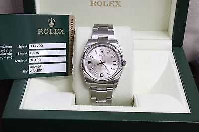 BRAND NEW ROLEX 114200 AIRKING OYSTER PERPETUAL STAINLESS BOX & PAPERS 2012