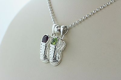 - Sterling Silver 925 Baby Bootie Shoe Birthstone Charms 2 Children Necklace - 18