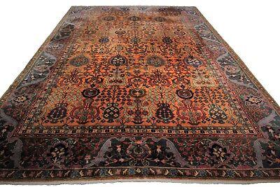 (Pre-1900 Rare Antique Agra Rug Vase Arts & Crafts Carpet Gold 9'x12' C.1890)