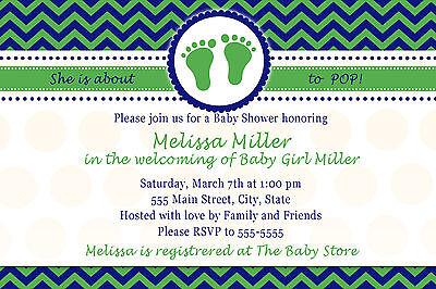 30 Invitations Baby Boy Shower Sprinkle Invite Green Navy Blue Chevron Custom A1 - Sprinkle Baby Shower Invitations