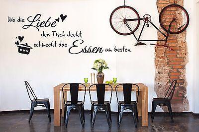 Wandtattoo Küche sprüche wand tattoo küchen Wo die Liebe den Tisch deckt TK33 Kunststoff Tisch Deckt