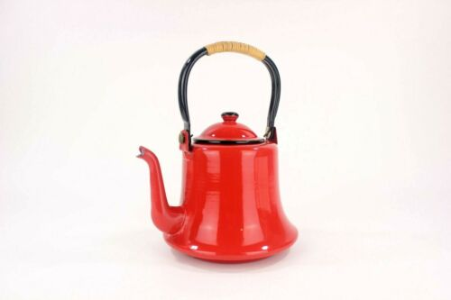 Vintage Otto Enamelware Red Tea Kettle Pot 1 3/4 Quart Mid Century Decor Japan