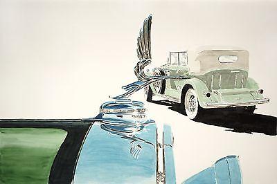 """""""1931 V16 Cadillacs"""" watercolor 40""""X60"""""""