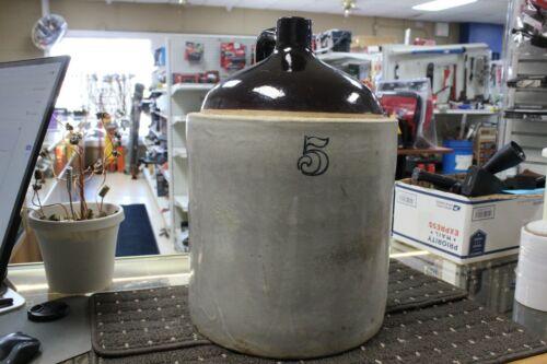 Antique 5 gallon Western Stoneware No. 5  Crock Jug ~ Moonshine ~ Whiskey