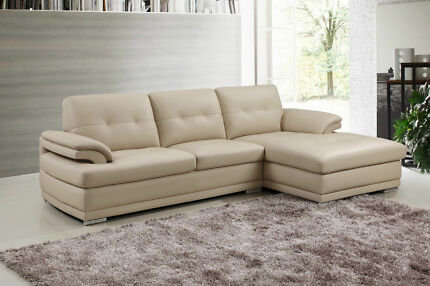 Aroma Italian Leather Lounge Chaise Corner 2 Seats + Chaise