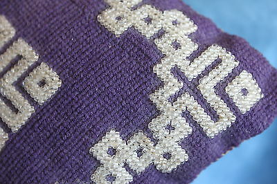 Antique Victorian Purple Needlepoint Stitched Glass Beaded Pillow Pin Cushion