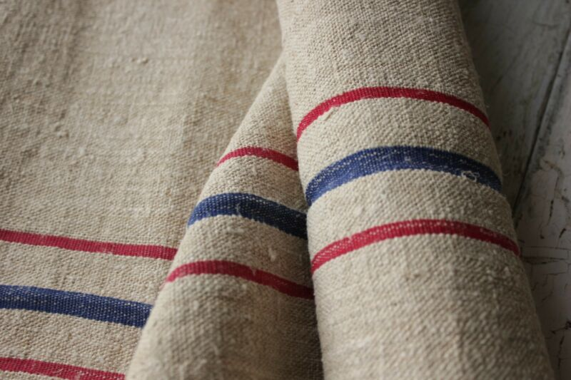Vintage GRAIN SACK fabric material linen red blue 2.75 YDS old upholstery washed