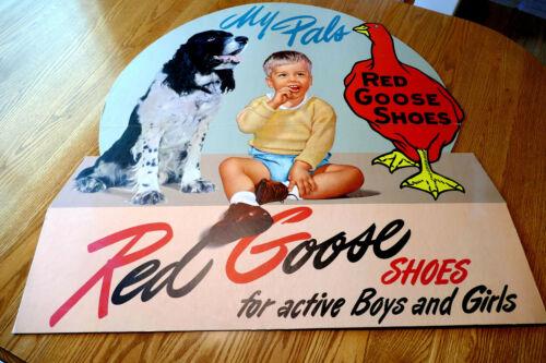VINTAGE RED GOOSE SHOE ADVERTISING SIGN.. IN ORIGINAL BOX..