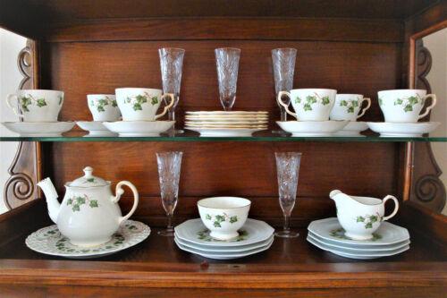 Colclough Ivy Leaf Bone China 22-Pc Tea Set for 6, Retired Pattern, England