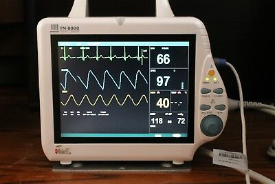 Mindray Pm8000 Patient Monitor Ecg Nibp Masimo Record Very Bright Color Screen