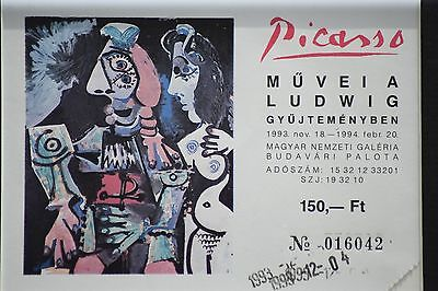 FRAMED PABLO PICASSO EXHIBITION TICKET 90's LUDWIG MUSEUM BUDAPEST HUNGARY PRINT